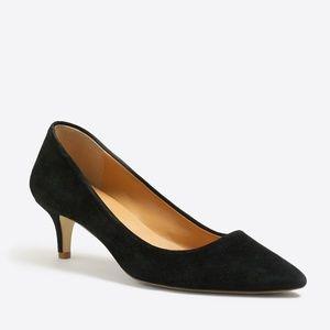 JCREW Black Suede Esme Kitten Heels Shoes